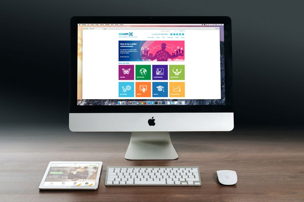Axiom Communications new website 2014 on Apple Mac desktop
