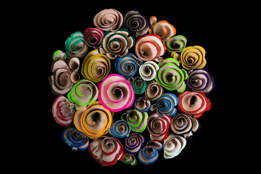 Flower of pencil shavings