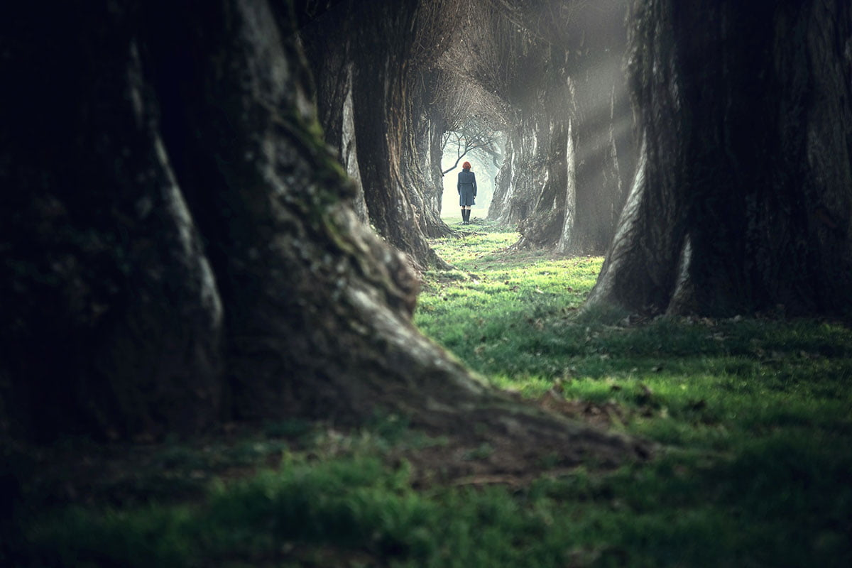 Woman walking in a dark forest