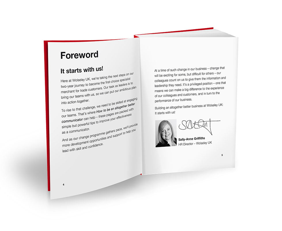 Company branded print book customized foreword