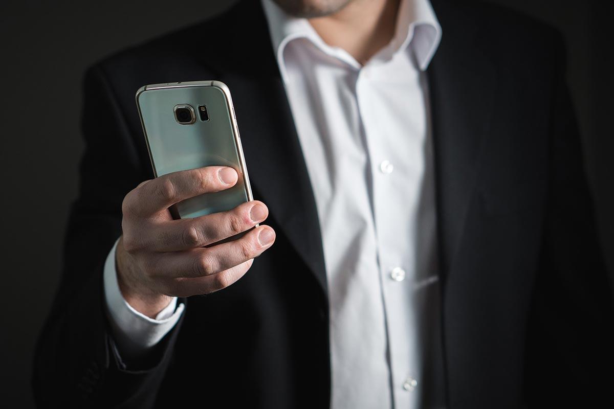 Businessman in phone meeting