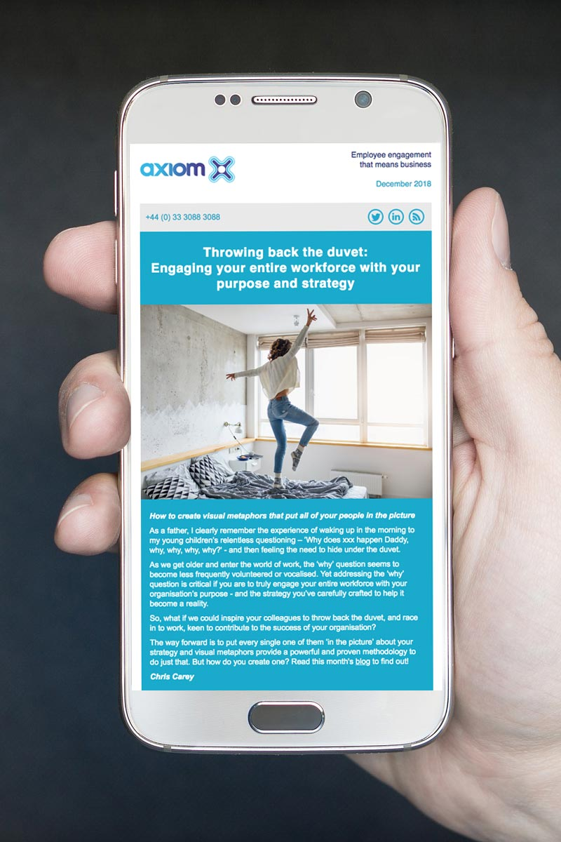Latest Axiom newsletter on a smartphone