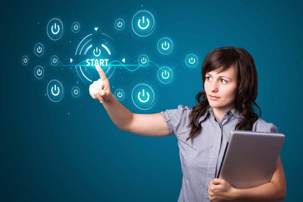 Lady Using Virtual Screen | Axiom Communications