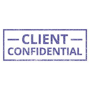 Client confidential stamp grainy