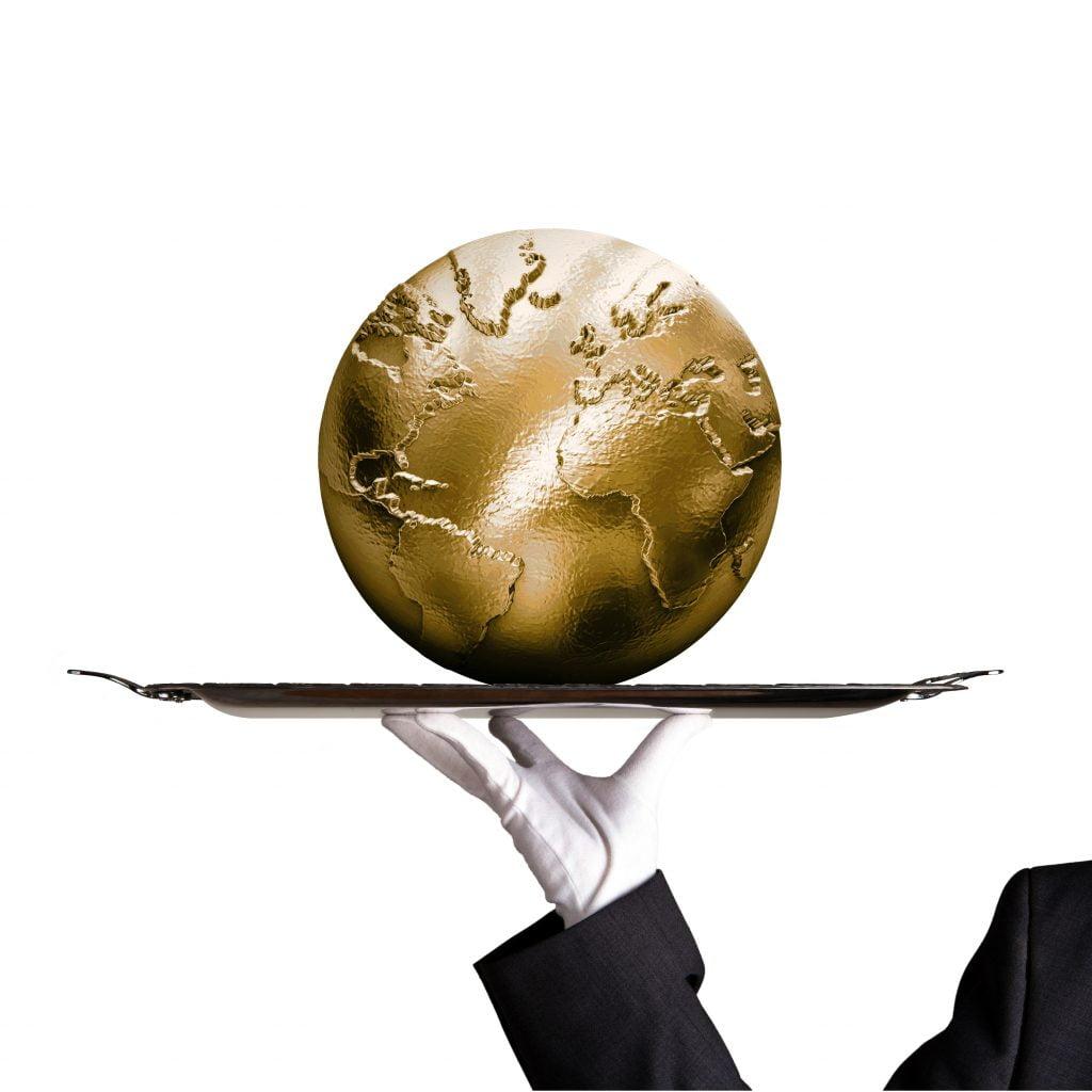 Globe on dinner tray